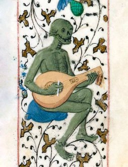 The lute player, Pierre Michault, La Dance aux aveigles, France 1466 (BnF, Français 1654, fol. 171r) via Discarding Images Twitter