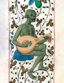The lute player, Pierre Michault, La Dance aux aveigles, France 1466 (BnF, Français 1654, fol. 171r) via Discarding Images Twitter