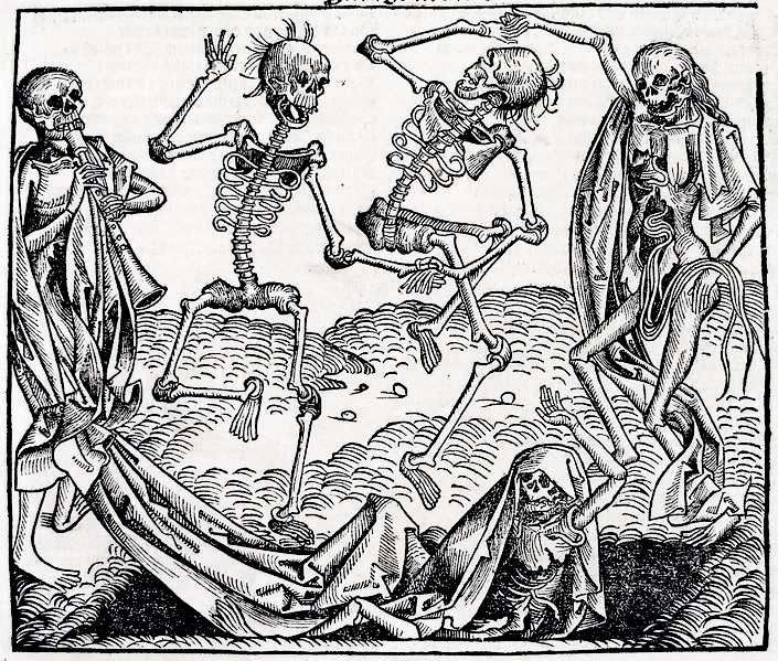'The Orchestra of the Dead', Michael Wolgemut (1493) Woodcut. [an example of carnivalesque atmosphere popularised in the Danse Macabre motif]
