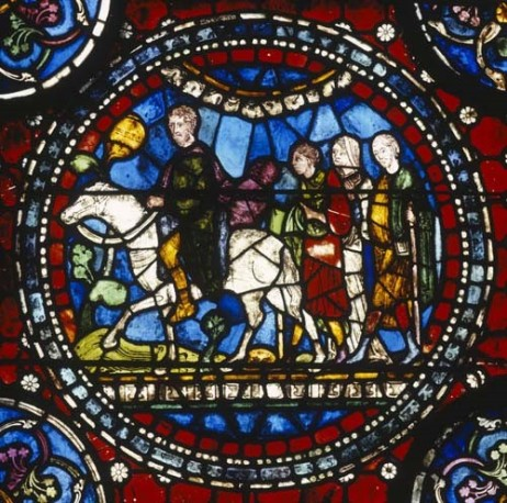 Stained glass depicting pilgrims making their way to St Thomas Becket_s shrine at Canterbury Cathedral (13th century with 19th century restorations), Sonia H